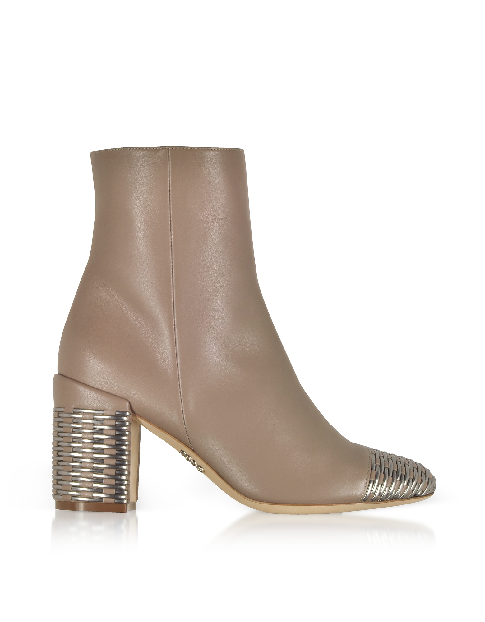 Rodo Designer Shoes, Taupe and Silver Woven Leather Heel Booties