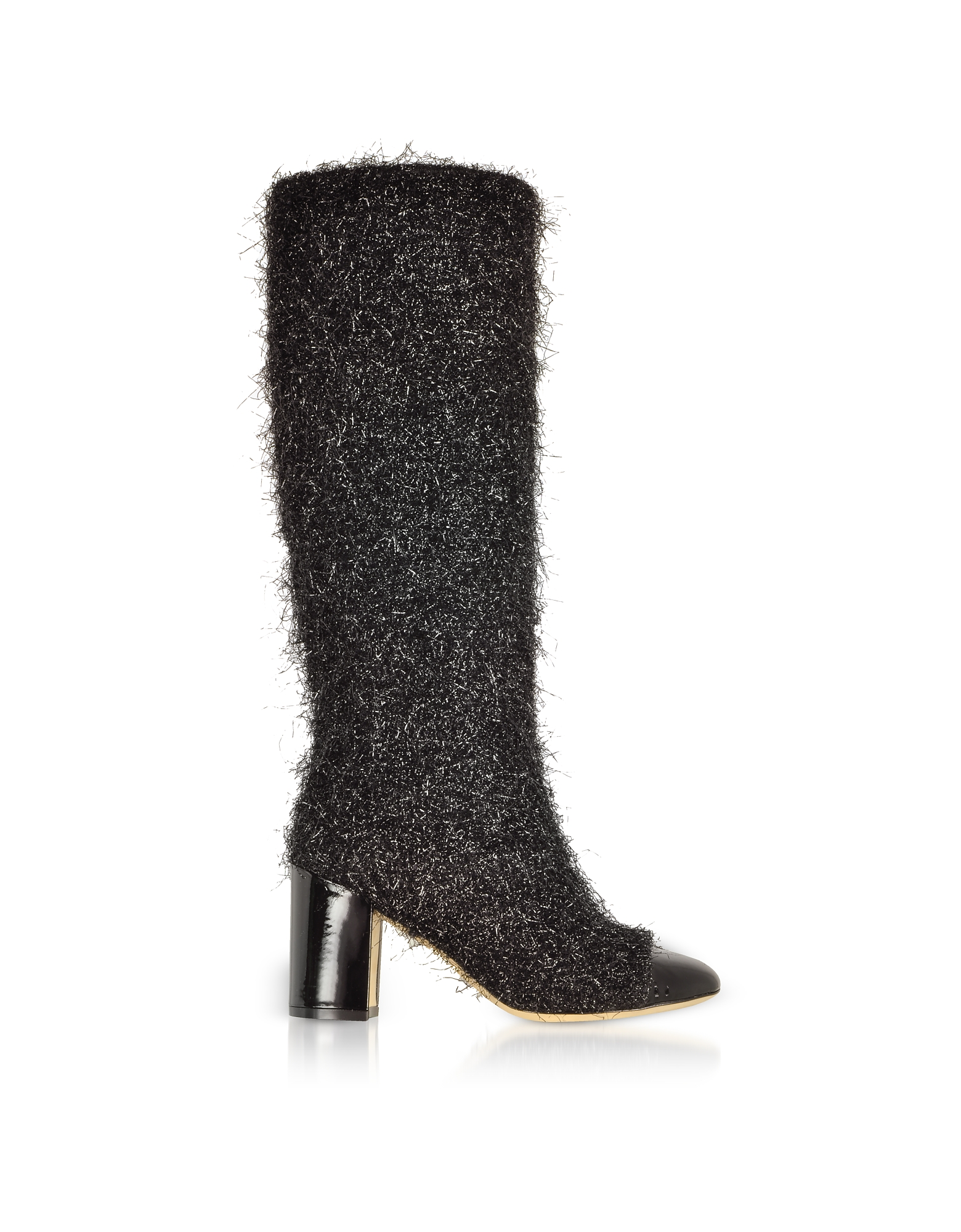 Black Tinsel Fabric and Patent Leather Heel Boots