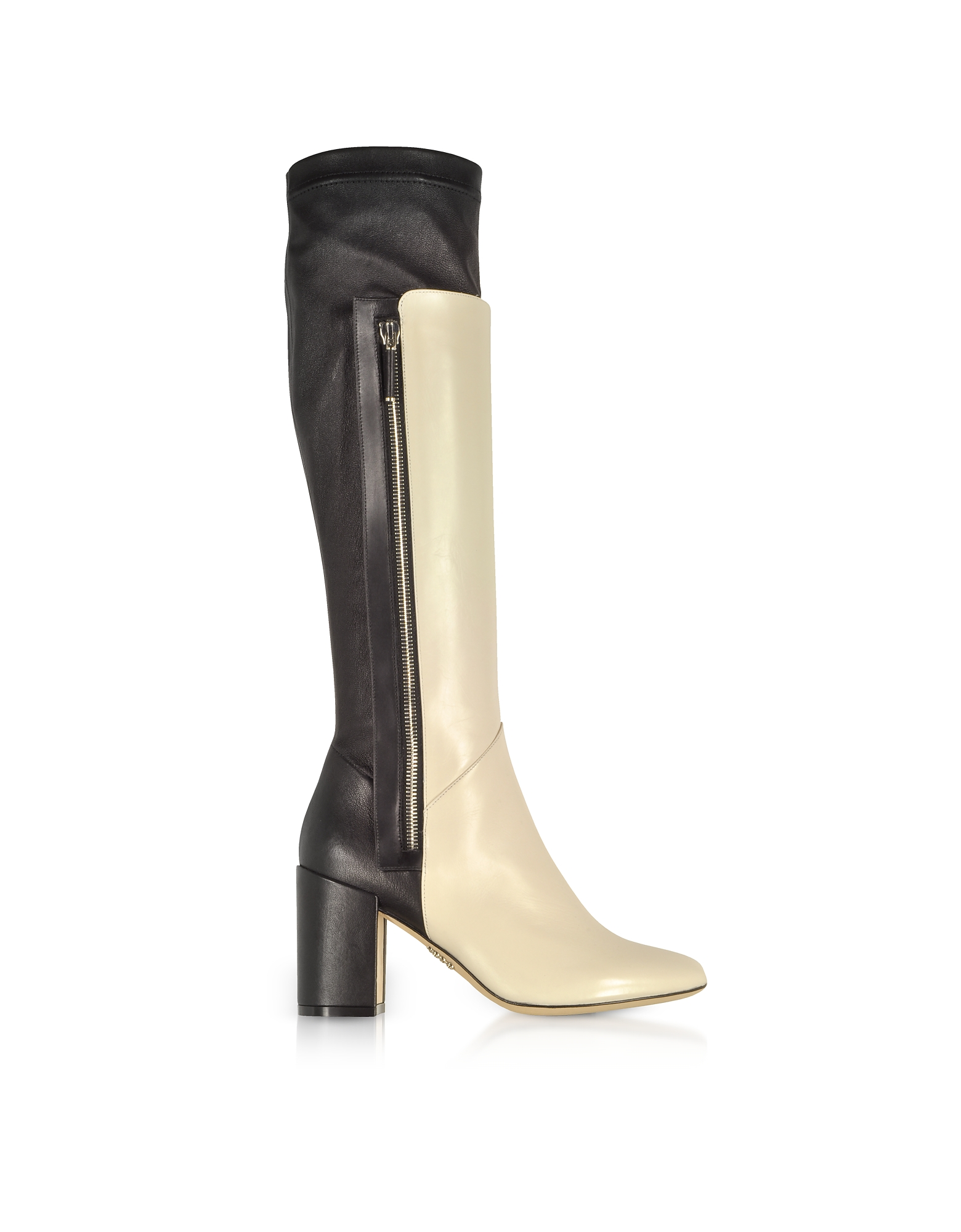 Rodo Shoes, Ivory and Black Leather Heel Over The Knee Boots