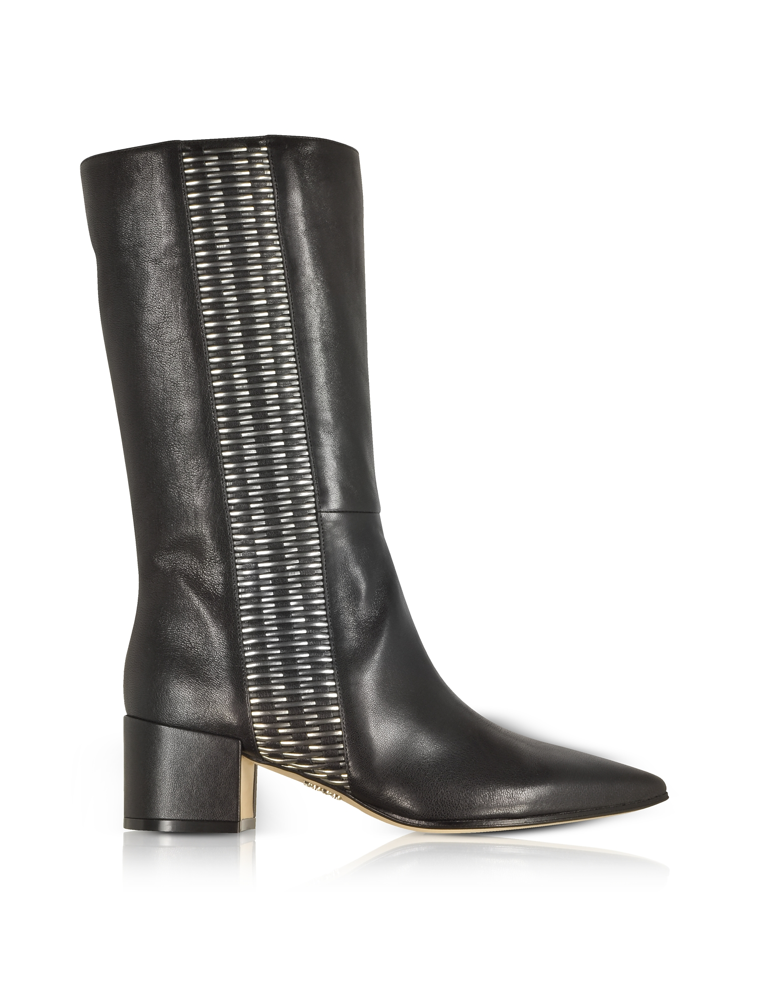 Rodo Shoes, Black and Silver Woven Leather Pointed Toe Mid Heel Boots
