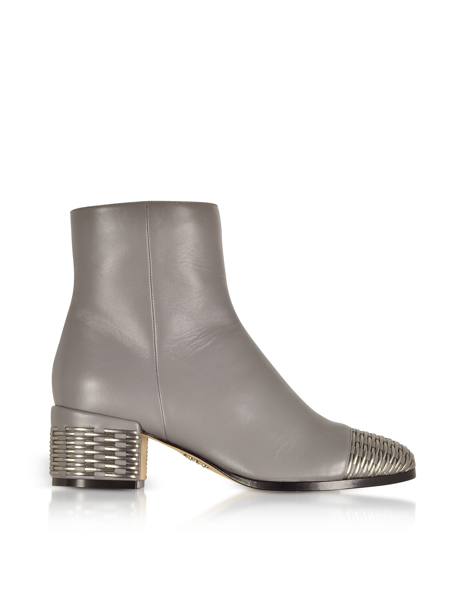 Rodo Designer Shoes, Gray and Silver Woven Leather Mid Heel Booties