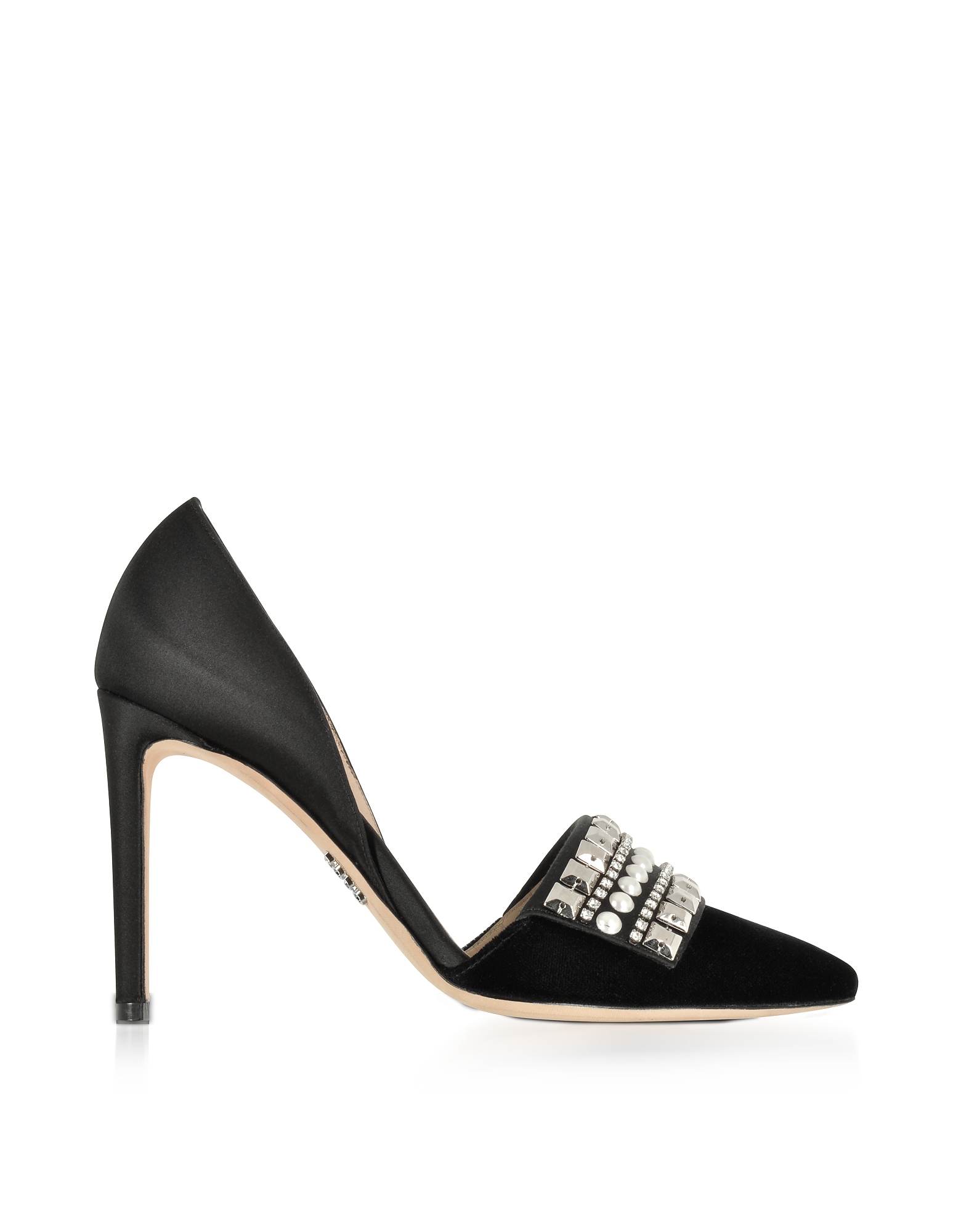 Rodo Shoes, Embellished Black Velvet and Satin High Heel Pumps