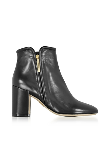 Rodo - Black Leather Heel Ankle Boots