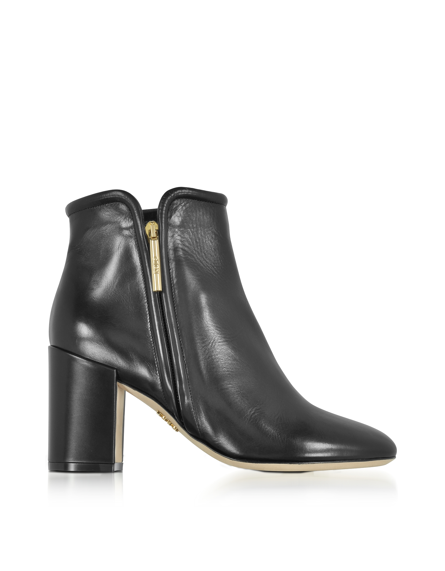 Rodo Shoes, Black Leather Heel Ankle Boots