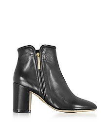 Black Leather Heel Ankle Boots - Rodo