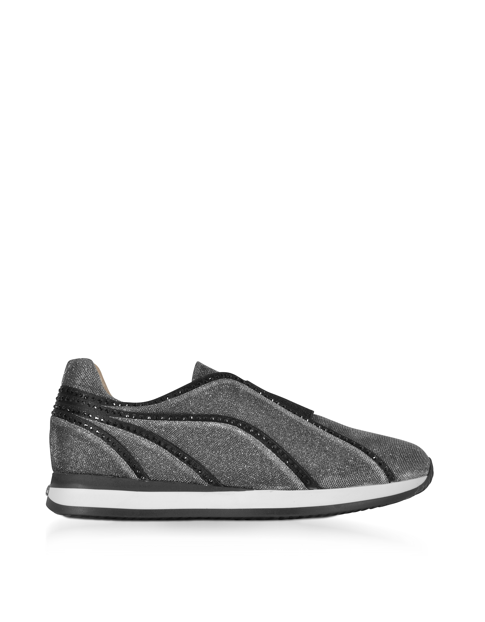 Rodo Shoes, Silver and Black Lurex Slip On Sneakers w/Black Studs