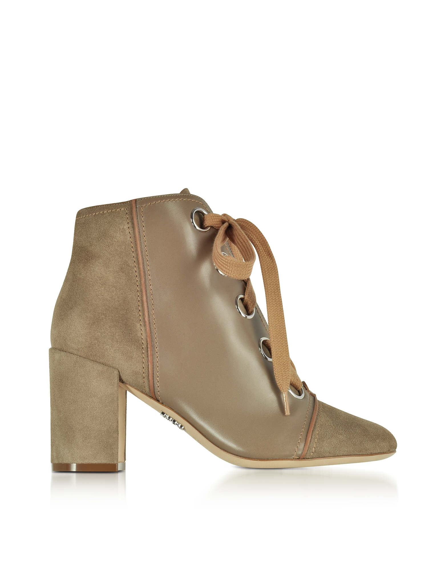 Rodo Shoes, Taupe Leather and Suede Lace up Bootie