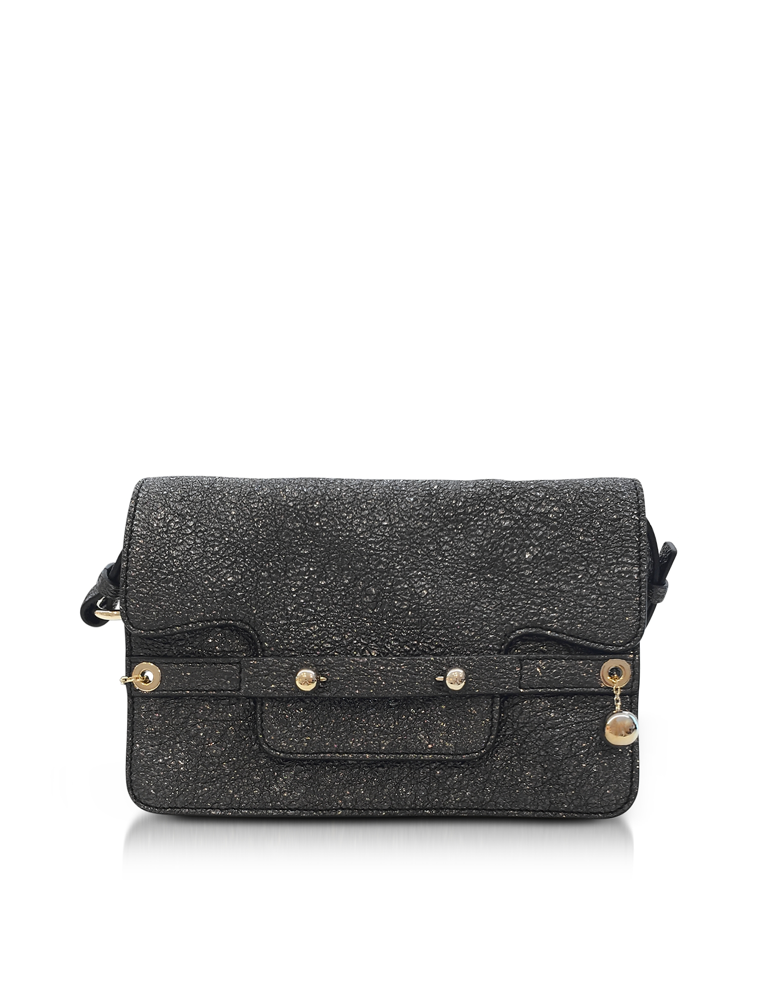 RED Valentino Designer Handbags, Gunmetal Crackled Metallic Leather Flap Top Crossbody Bag