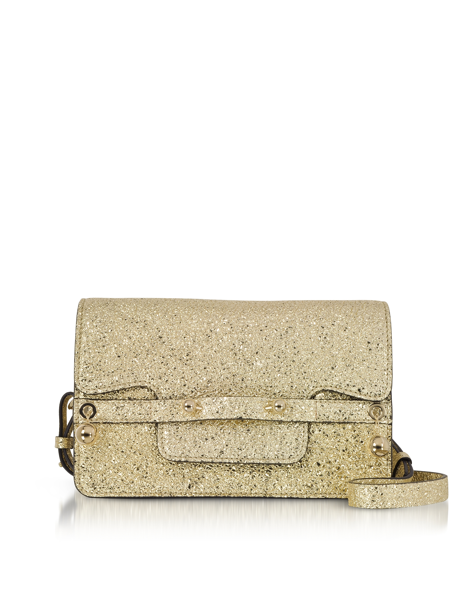 RED Valentino Designer Handbags, Platinum Crackled Metallic Leather Flap Top Crossbody Bag