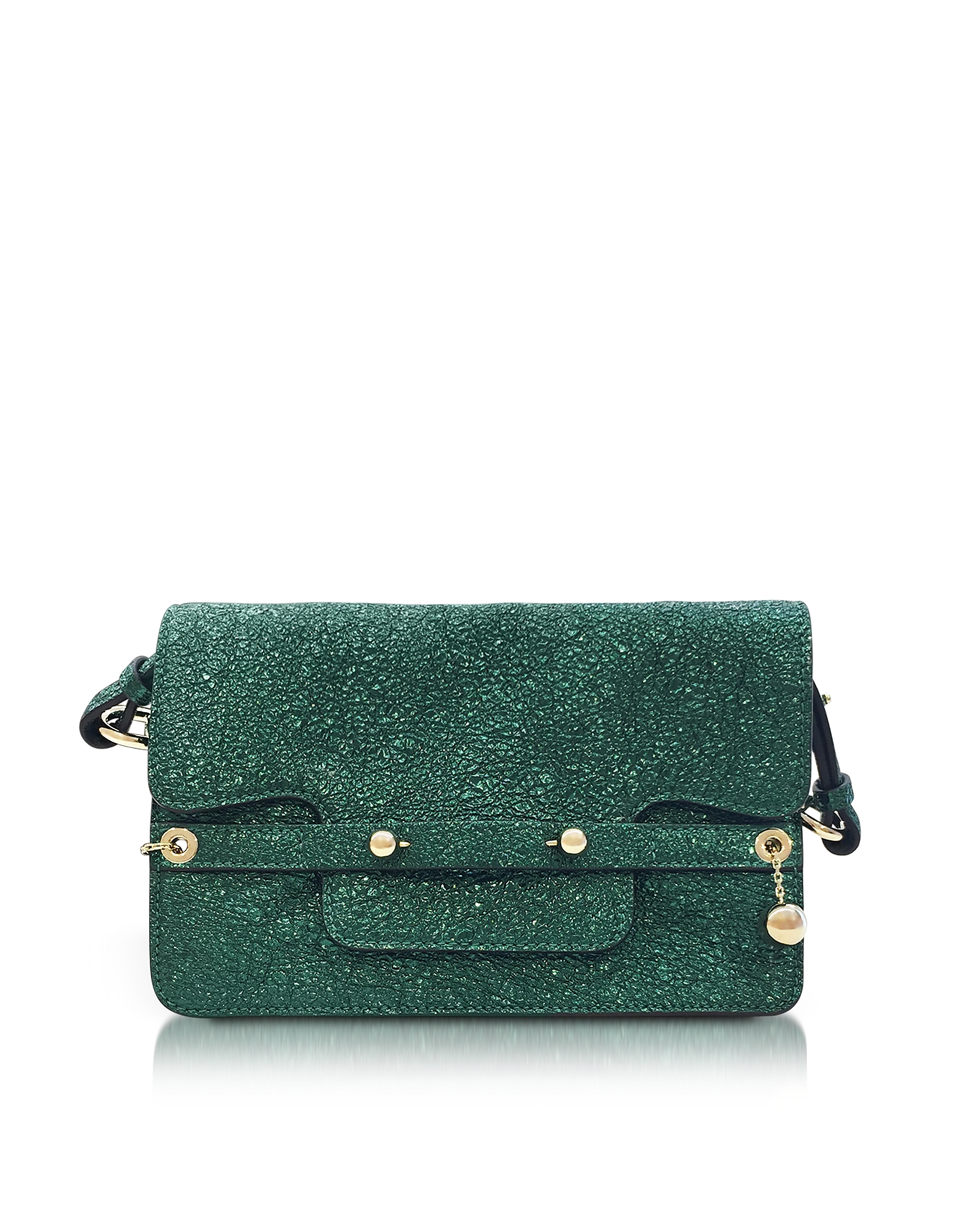 RED Valentino Handbags, Dark Green Crackled Metallic Leather Flap Top Crossbody Bag