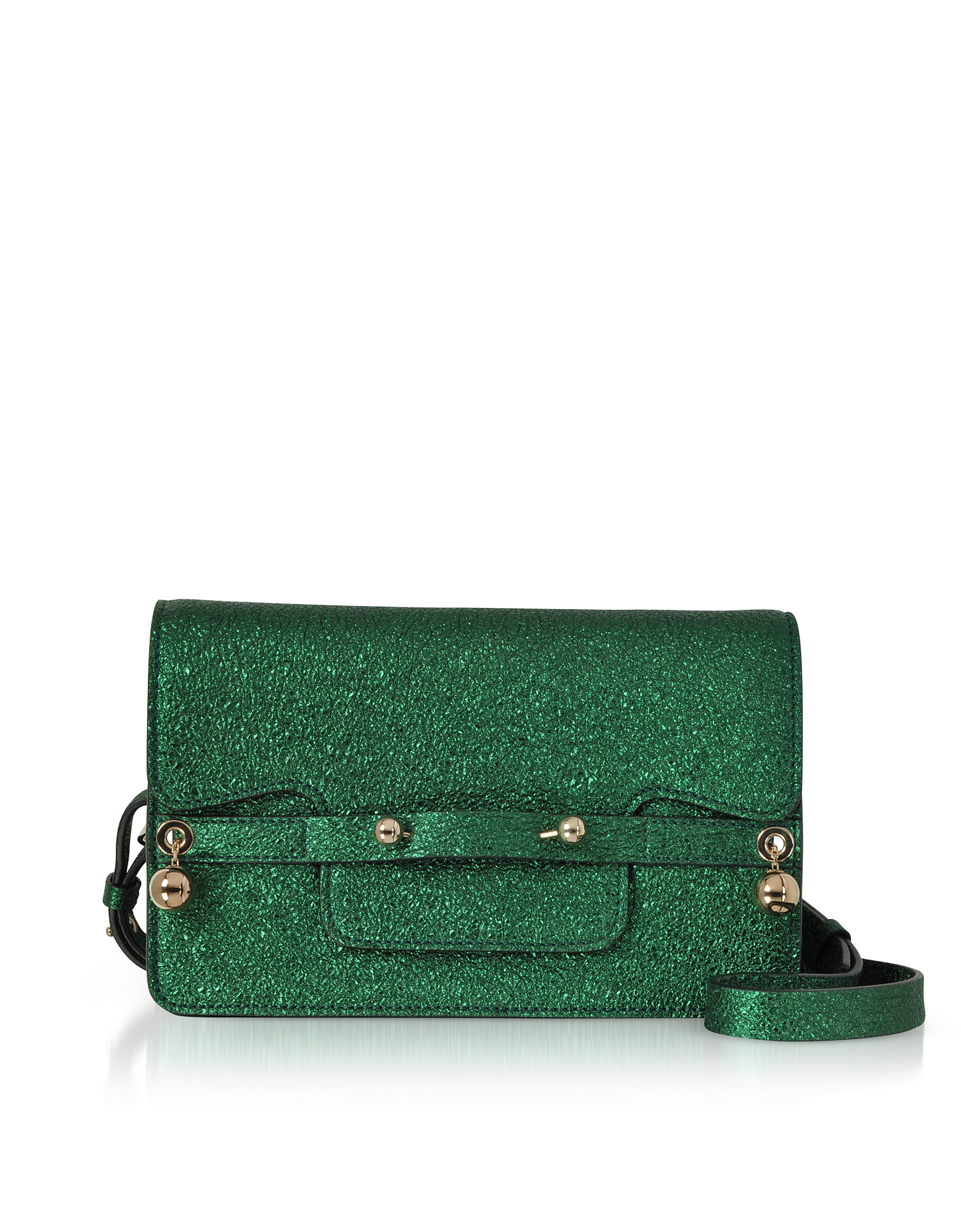 Image of RED Valentino Designer Handbags, Dark Green Crackled Metallic Leather Flap Top Crossbody Bag