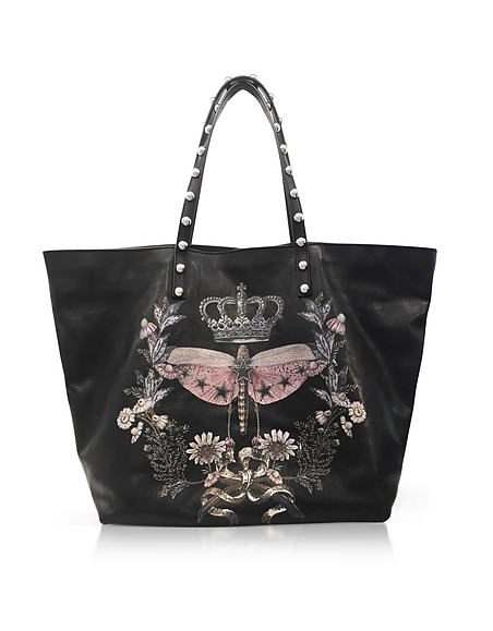 RED VALENTINO Black Printed Leather Tote Bag w Studs