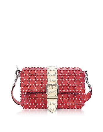 Strawberry/Ivory Studded Leather Puzzle Shoulder Bag re130118-005-00