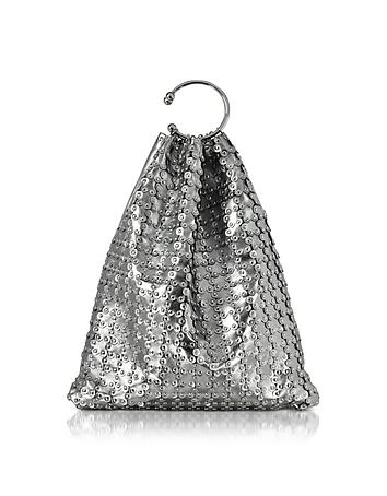 Platinum Studded Metallic Leather Clutch re130118-006-00