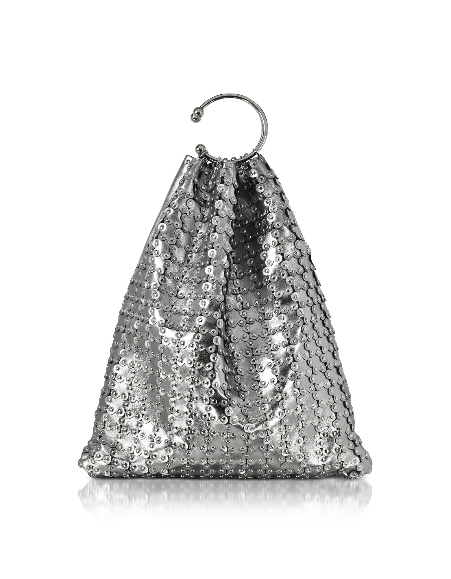RED Valentino Handbags, Platinum Studded Metallic Leather Clutch