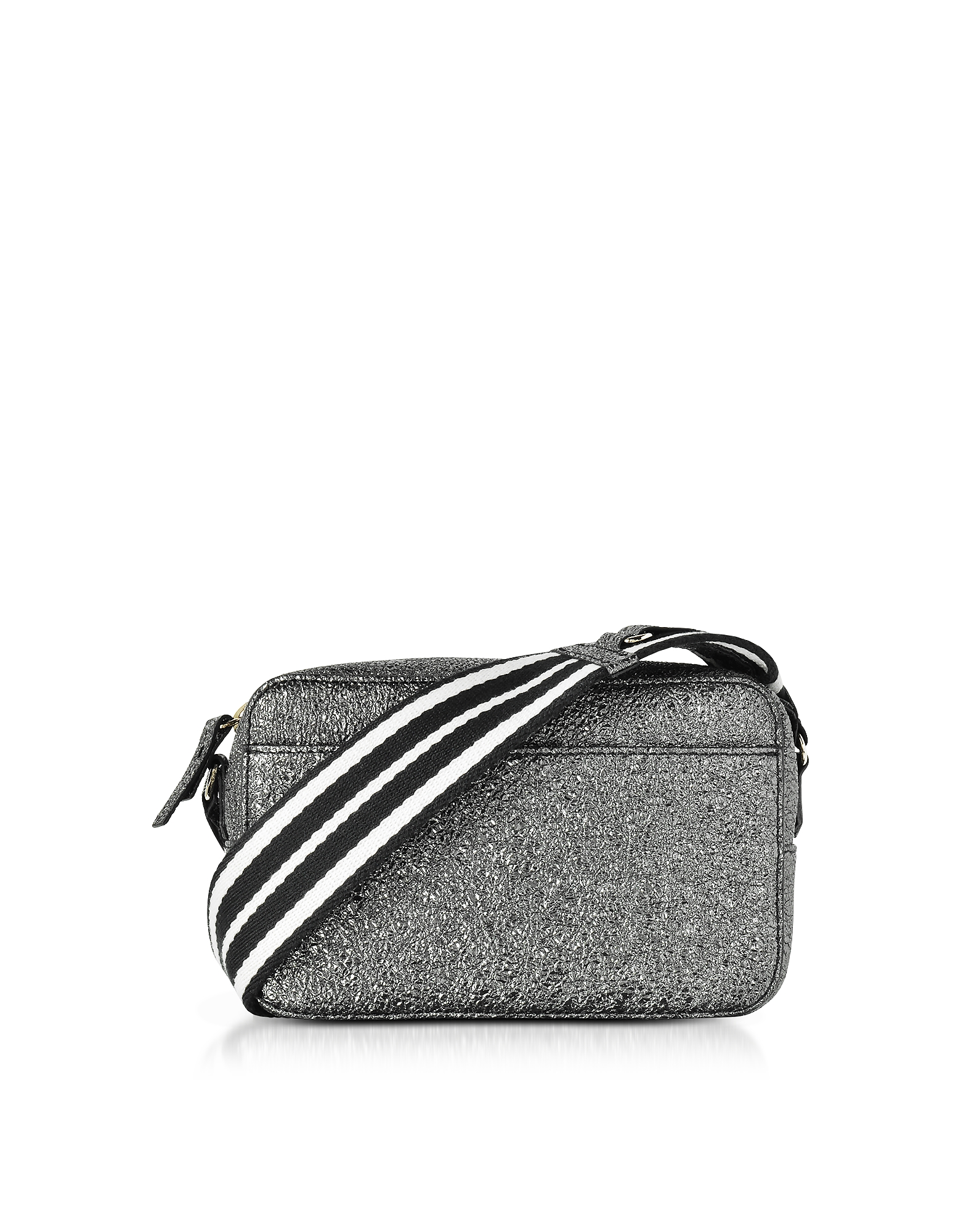 Image of RED Valentino Designer Handbags, Gunmetal Crackled Metallic Leather Crossbody Bag w/Striped Canvas Strap