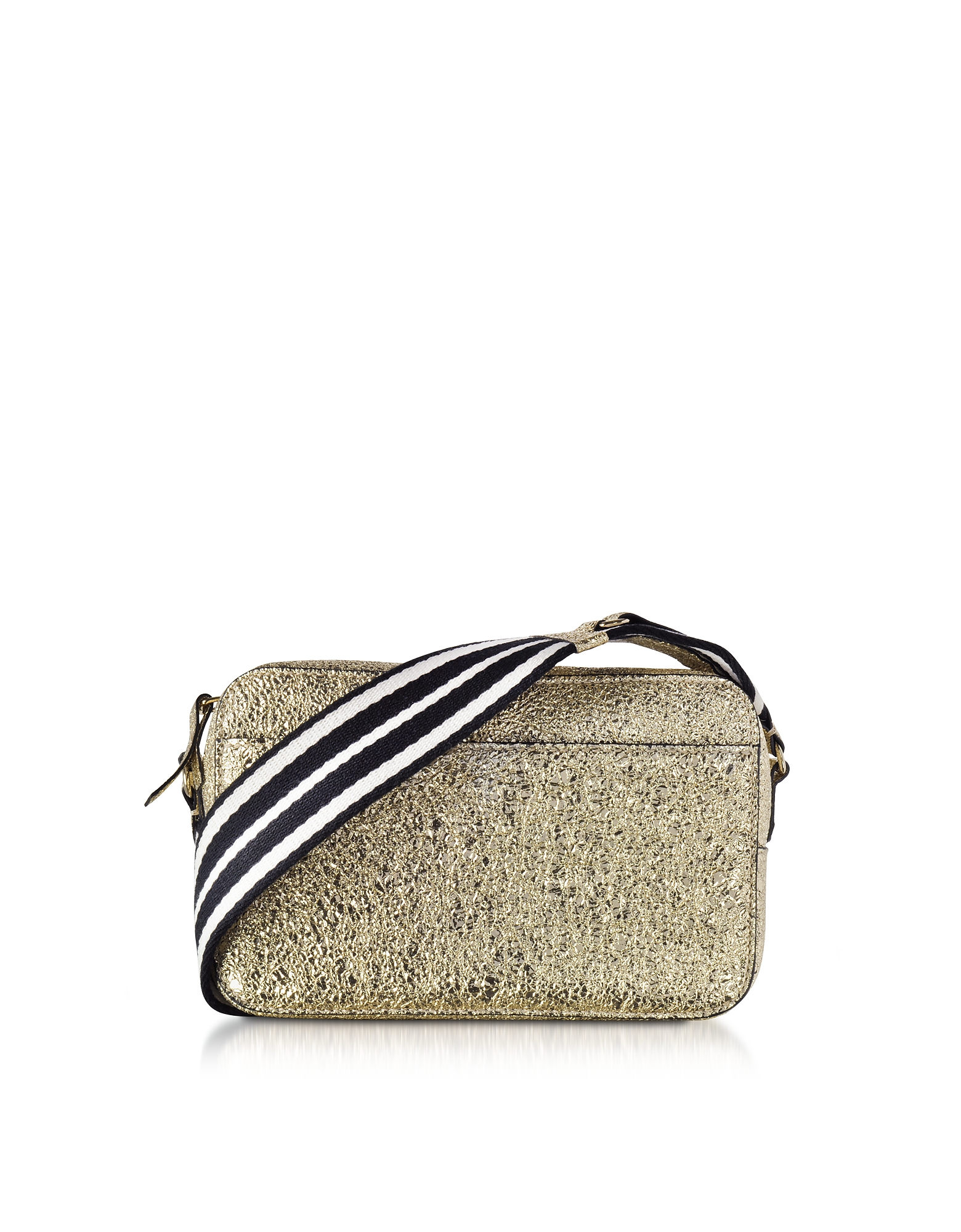 Image of RED Valentino Designer Handbags, Platinum Crackled Metallic Leather Crossbody Bag w/Striped Canvas Strap