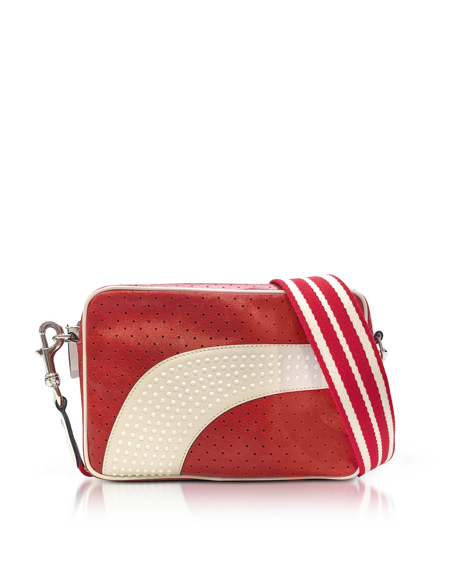 Image of RED Valentino Designer Handbags, Strawberry/Milk White Perforated Leather Crossbody Bag w/Studs