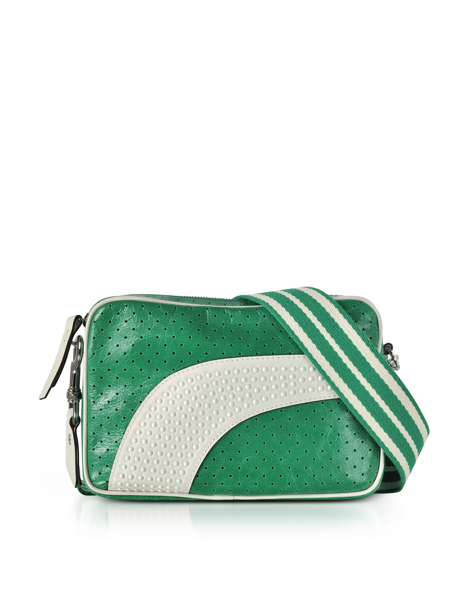 RED Valentino Handbags, Mint Green/Milk White Perforated Leather Crossbody Bag w/Studs