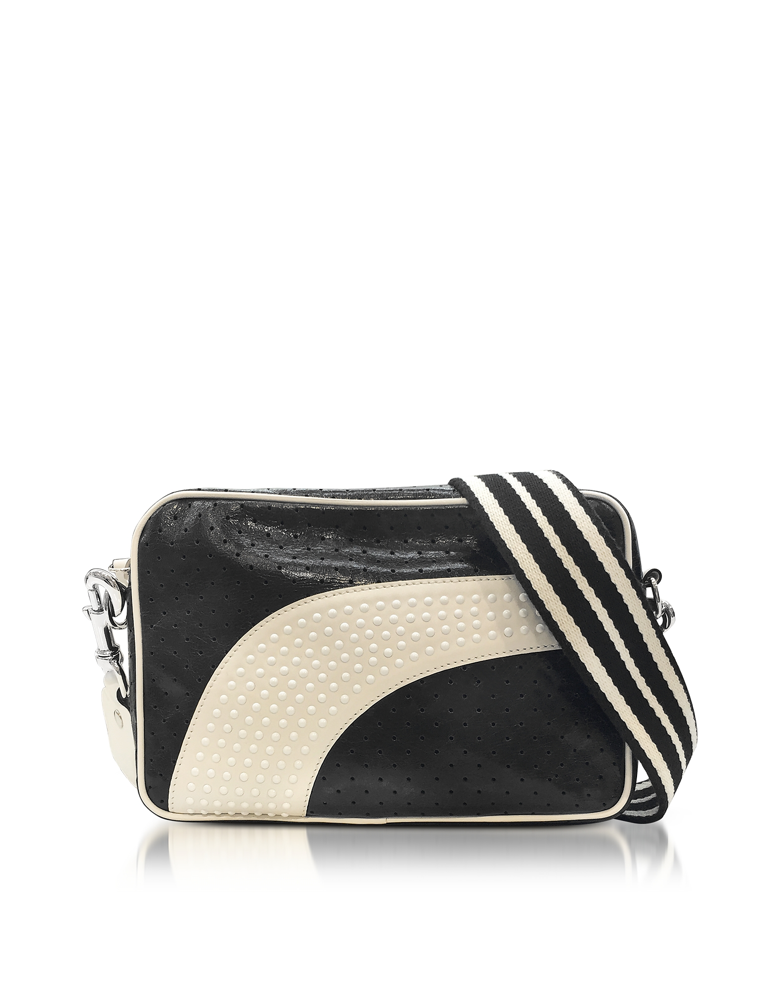 Image of RED Valentino Designer Handbags, Black/Milk White Perforated Leather Crossbody Bag w/Studs