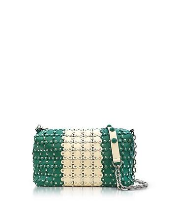 Mint Green/Ivory Studded Leather Shoulder Bag re130118-013-00