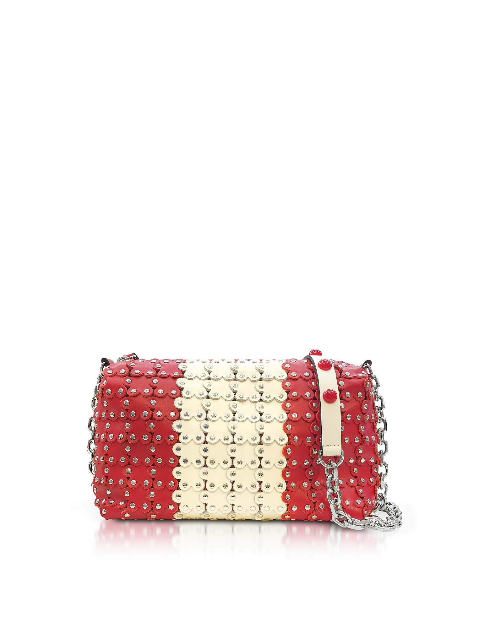 Image of RED Valentino Designer Handbags, Strawberry/Ivory Studded Leather Shoulder Bag