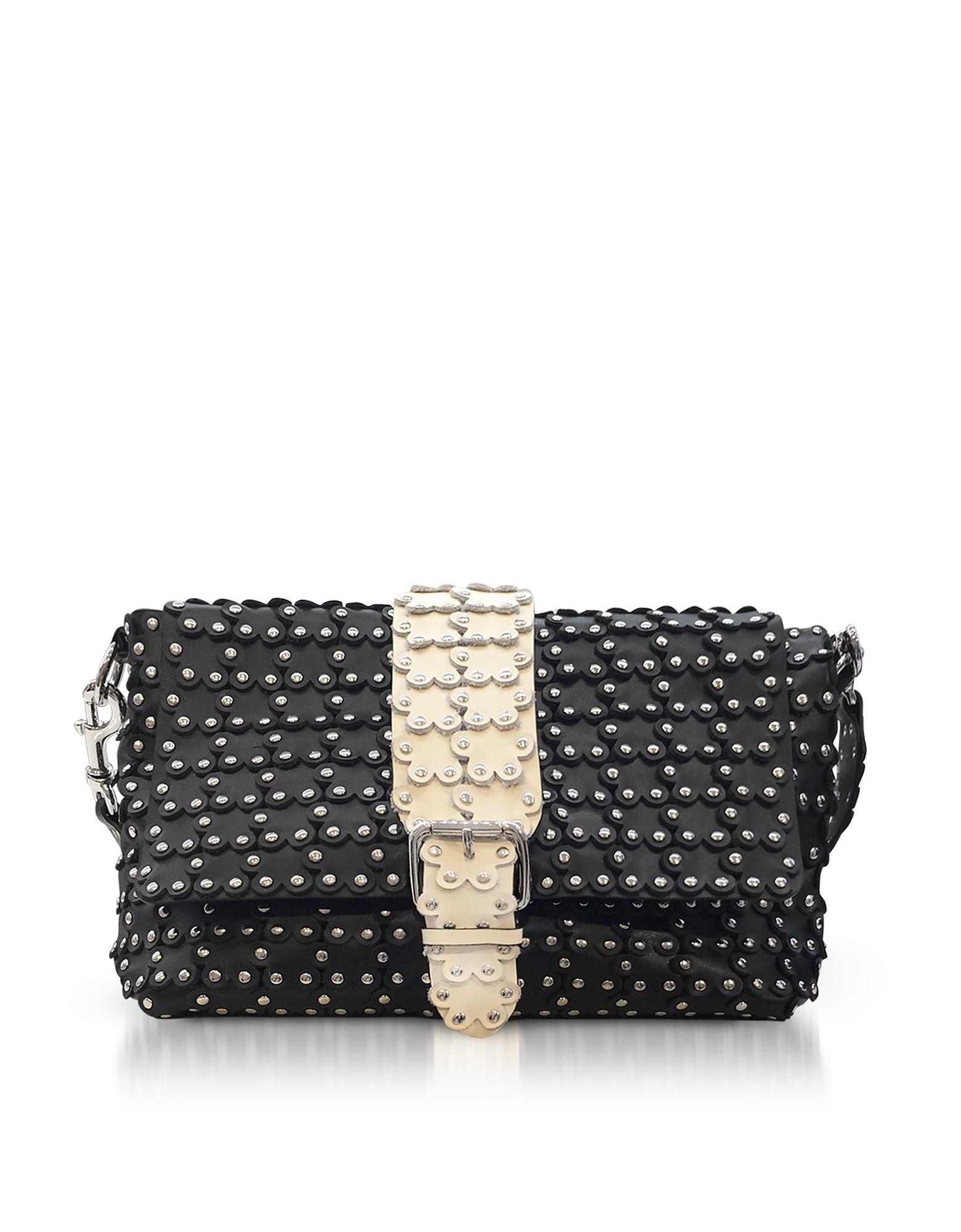 RED Valentino Handbags, Black/Ivory Studded Leather Flap Top Shoulder Bag