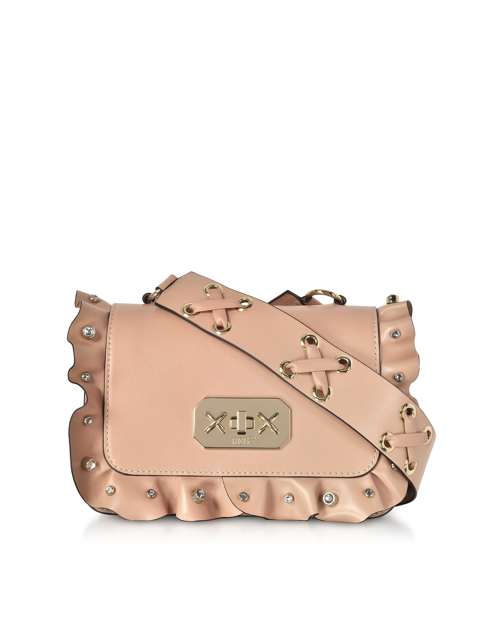 Nude Leather Small Ruffle Shoulder Bag