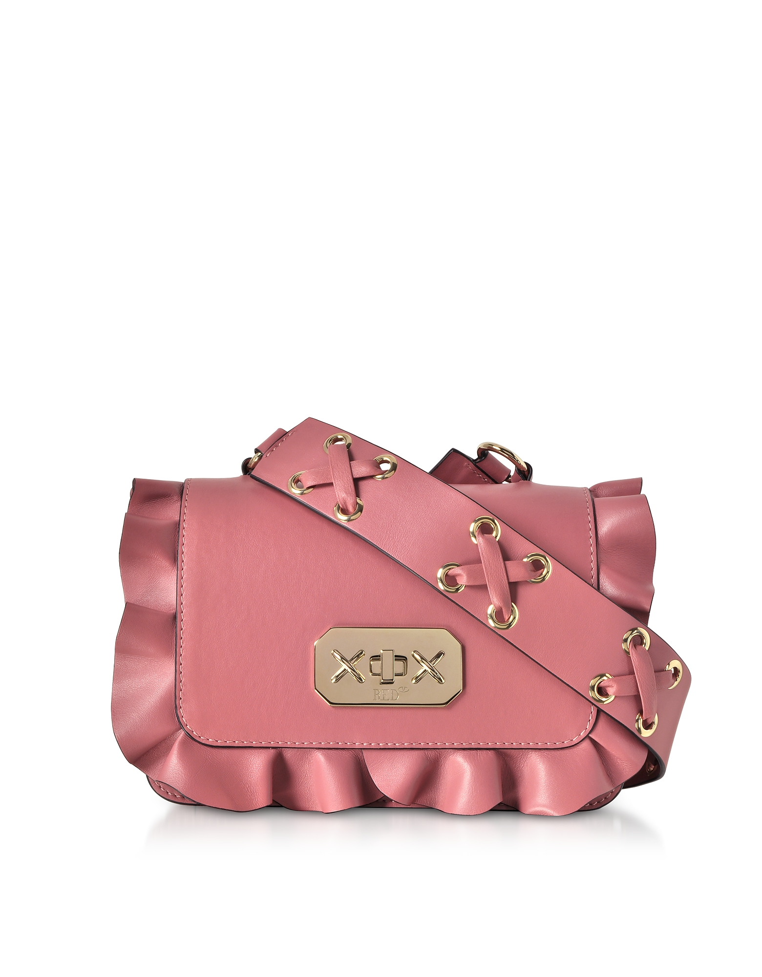 RED Valentino Handbags, Pink Leather Ruffle Small Shoulder Bag