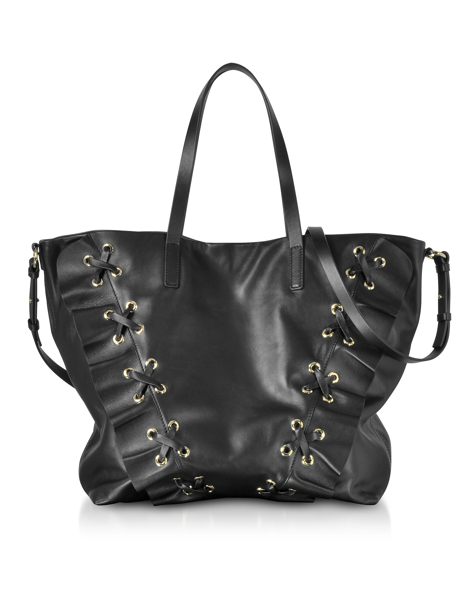 RED Valentino Handbags, Black Leather Ruffle Tote Bag