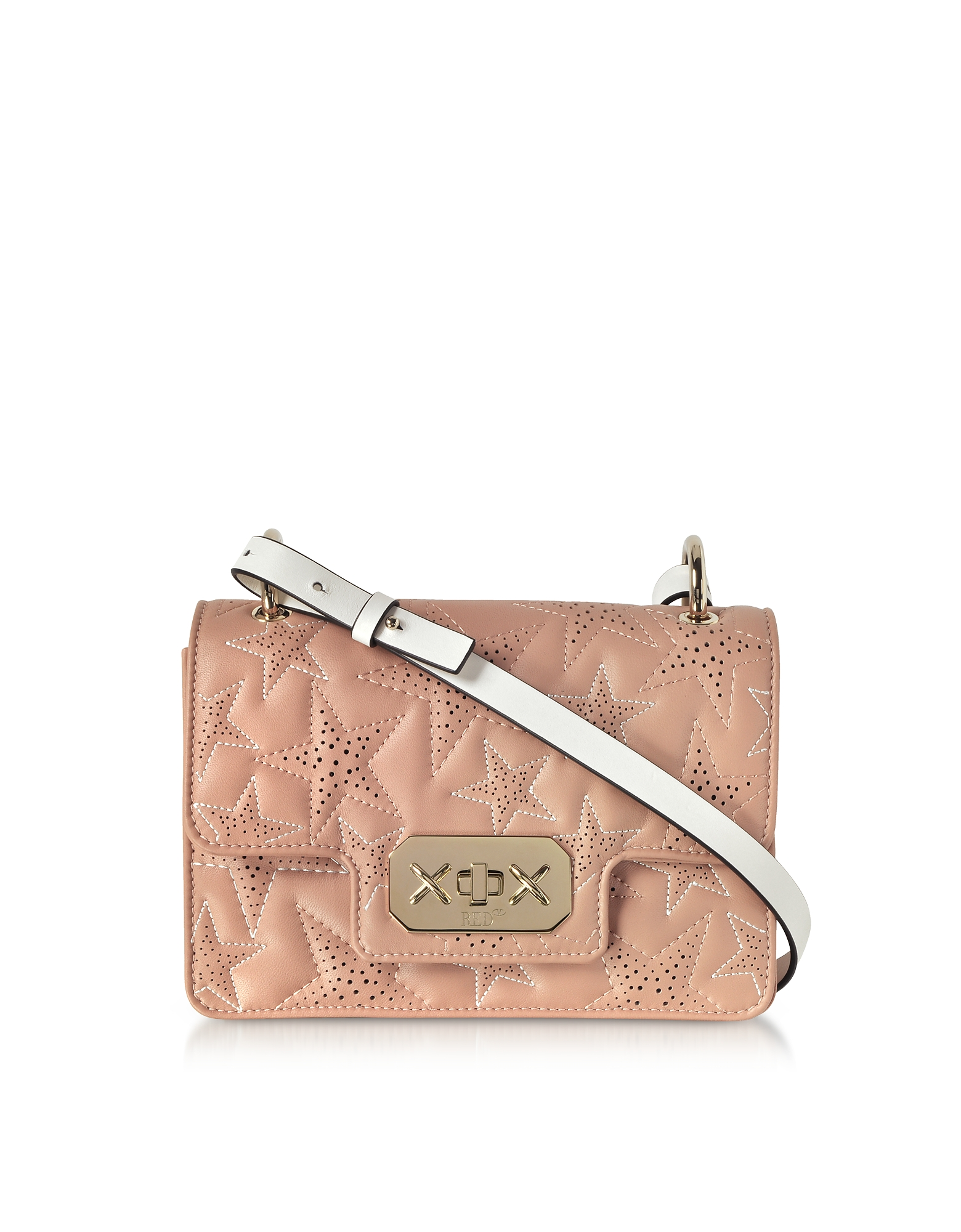 Quilted Stars Two-tone Leather Shoulder Bag