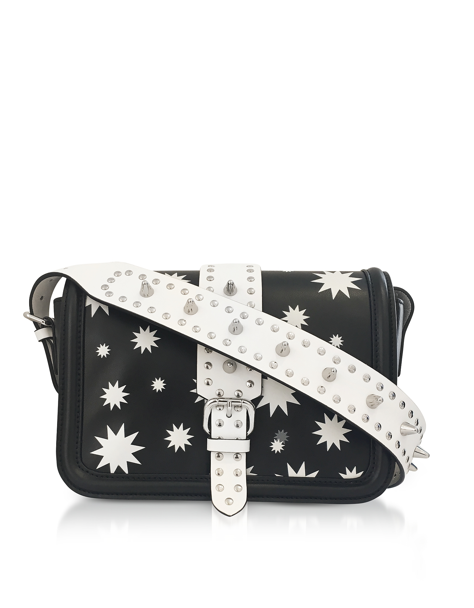 RED Valentino Handbags, Black and White Star Printed Crossbody Bag