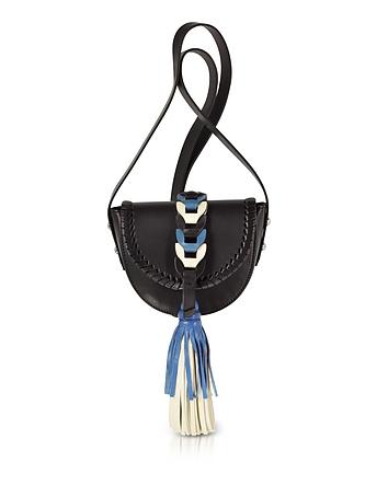 Black Ivory Agate Blue Leather Crossbody Bag w/Oversized Tassel