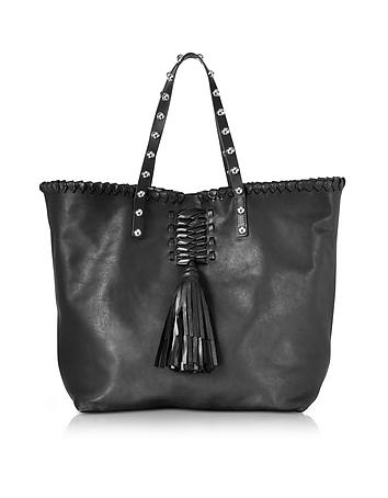 Black Leather Tote Bag w/Fringe Tassel re130218-022-00