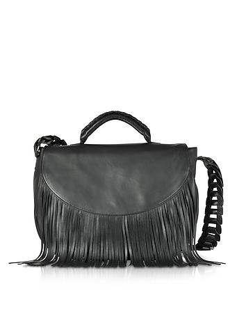 Black Fringed Leather Shoulder Bag re130218-024-00