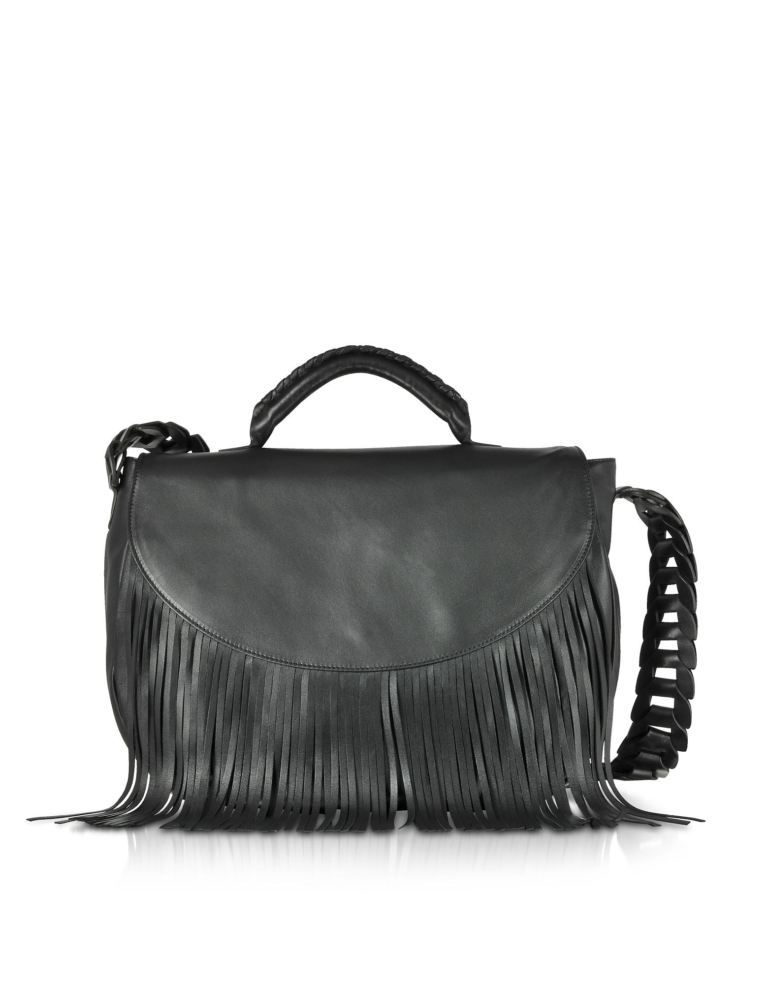RED Valentino Handbags, Black Fringed Leather Shoulder Bag