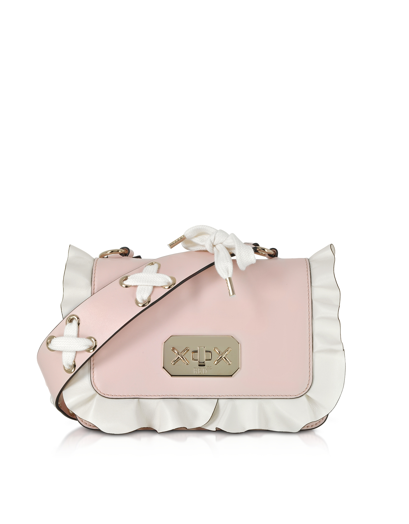 Two Tone Leather Small Ruffle Shoulder Bag