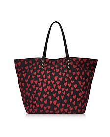 Red and Black Heart Print Nylon Tote - RED Valentino