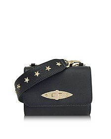 Black Leather Shoulder Bag w/Stars - RED Valentino