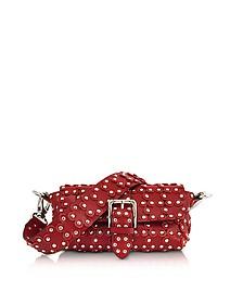 Genuine Leather Studded Shoulder Bag - RED Valentino