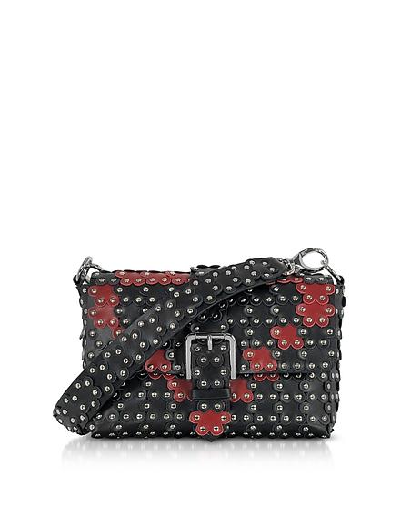 RED VALENTINO Black and Red Studded Shoulder Bag