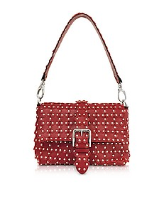 Red Studded Leather Flap Top Shoulder Bag - RED Valentino