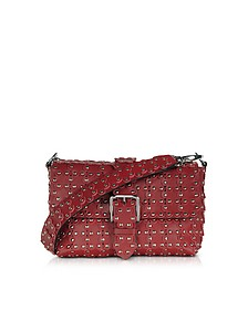 Red Studded Leather Flap Top Shoulder Bag - RED Valentino