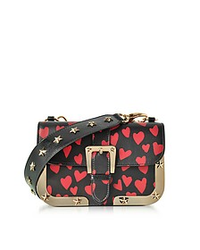 Heart Printed Leather Shoulder Bag - RED Valentino