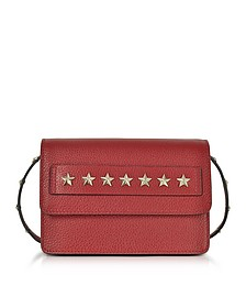 Golden Stars Red Leather Shoulder Bag - RED Valentino