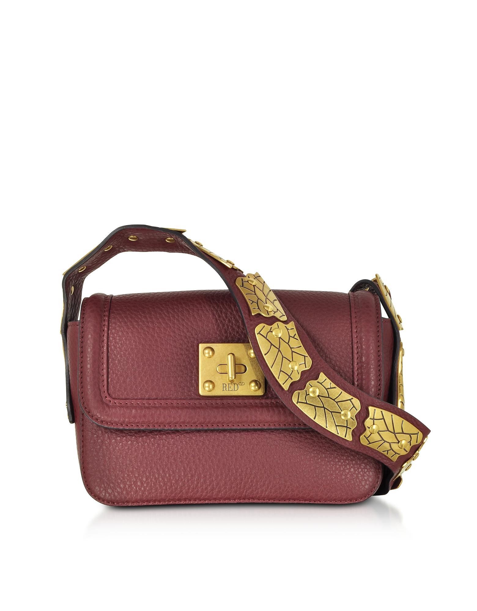 RED Valentino Handbags, Wine Pebble Leather Sin Crossbody Bag