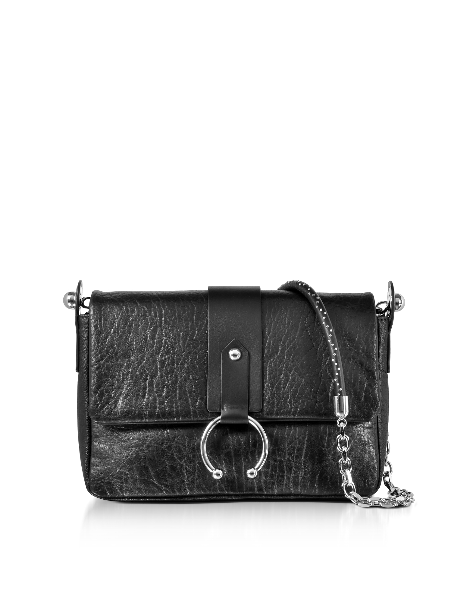 RED Valentino Handbags, Black Hammered Leather Shoulder Bag
