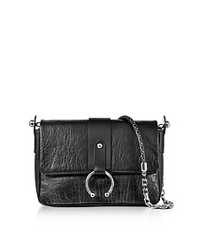 Black Hammered Leather Shoulder Bag - RED Valentino
