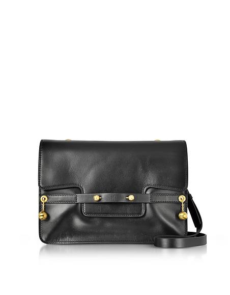 RED VALENTINO Black Leather Shoulder Bag w Goldtone Piercing