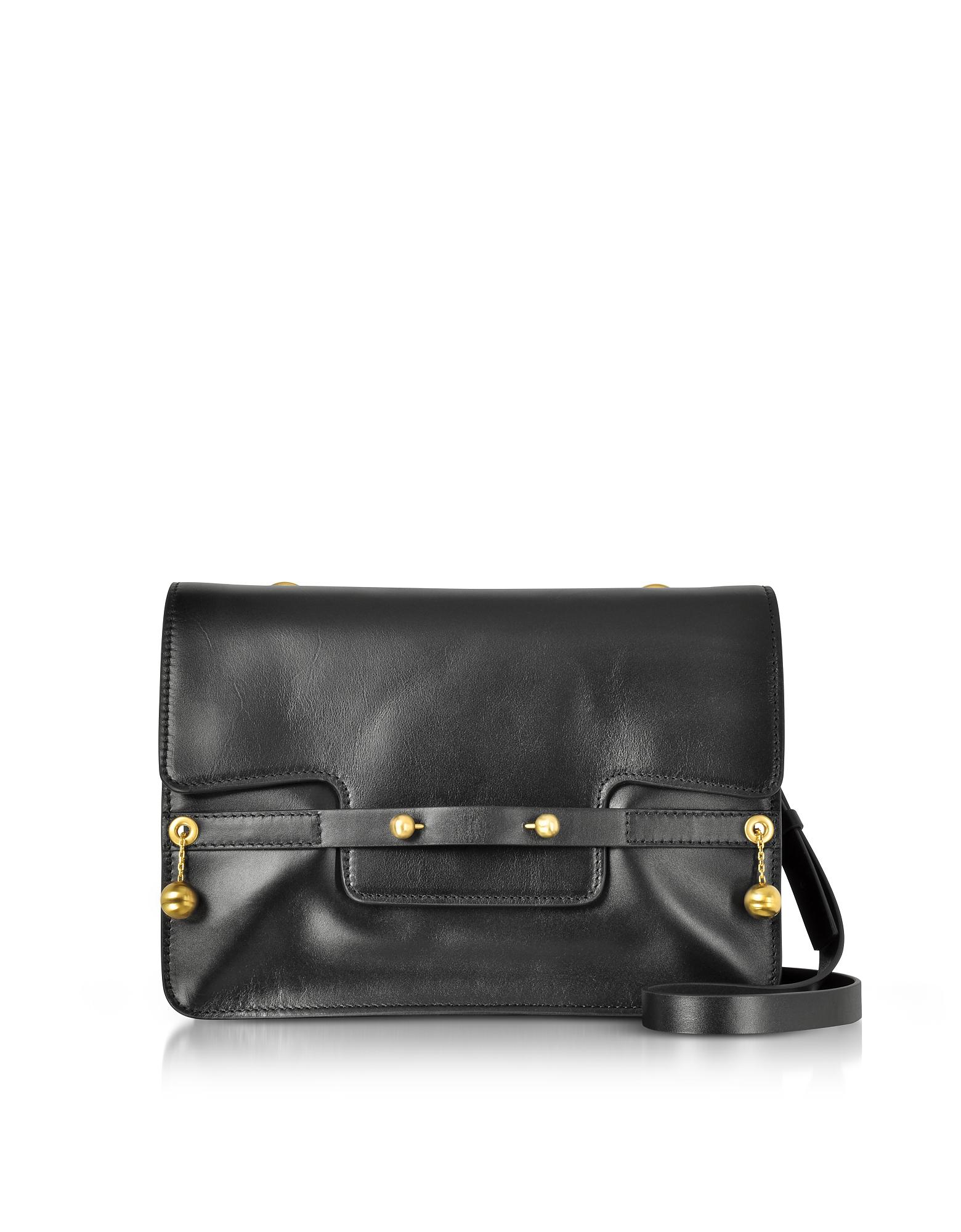 RED Valentino Black Leather Shoulder Bag w Goldtone Piercing 22d821318ec9a